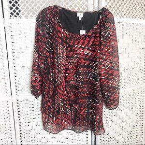 dressbarn red black white long sleeve blouse M NEW